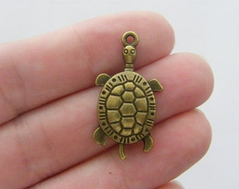 6 Turtle charms antique bronze tone BC19