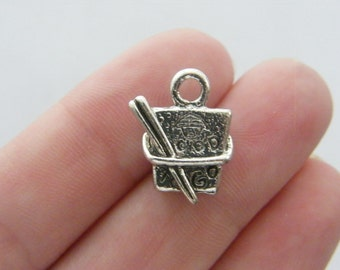 4 Chinese take away charms antique silver tone FD113...