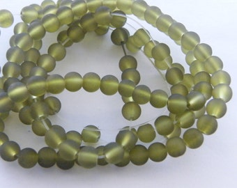 142 Olive green frosted glass beads B163