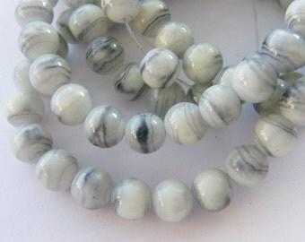 108 Grey glass beads B170
