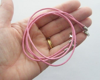 2 Pink waxed cord necklaces