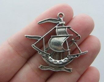 BULK 20 Ship charms antique silver tone TT48
