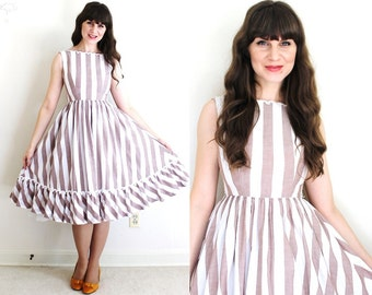 50s Dress / 1950s Dress / Striped 50s Dress