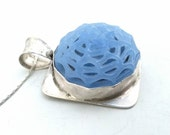 Lovely Vintage Blue Glass Spiderweb Cabochon In Handmade Sterling and Fine Silver Setting with Sterling Snake Chain