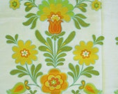 Vintage 60s 70s Mod Yellow Green Floral Fabric Germany 8 yards