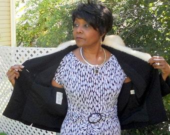 Vintage Youth Craft Black Crop Jacket Fur Collar