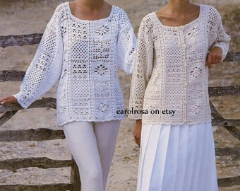 Crochet PATTERN - Ladies/Womens Crochet Tunic/Sweater/Top and Jacket  - 86/91 cm One size