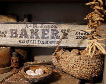 Aged Primitive Personalized Bakery Wood Sign