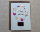 Many Thanks Wreath - Tiny Envelope Card