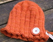 Orange Girls Ribbed Cloche/Beanie with Button Accent - Ages 3 to 5