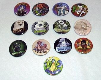 "Bakers Dozen Fantasy ""Fun"" Pin-Back Buttons by Neon Dragon Art"