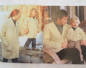 Aran Knitting patterns book, Patons Classics # 950, men women girls children, knit sweater pattern, dog sweater OOP  book needlework fashion