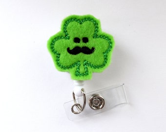 Sammy the Shamrock - Cute Badge Holder - Nurses Badge Holder - Felt Badge - Nursing Badge Holder - Teacher Badge Reel - St. Patricks Day
