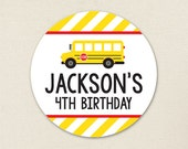 School Bus Party - Custom stickers - Sheet of 12 or 24