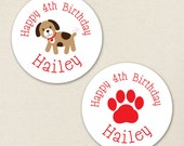 Puppy Party - Custom Stickers - Sheet of 12 or 24 - Choose red, blue or pink