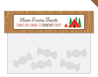 Camping Party - Personalized DIY printable treat bag label