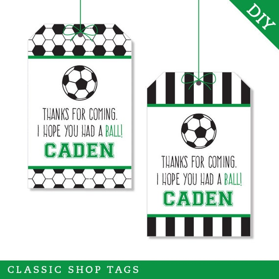 Soccer Party - Personalized DIY printable favor tags - Choose red, green, blue or pink