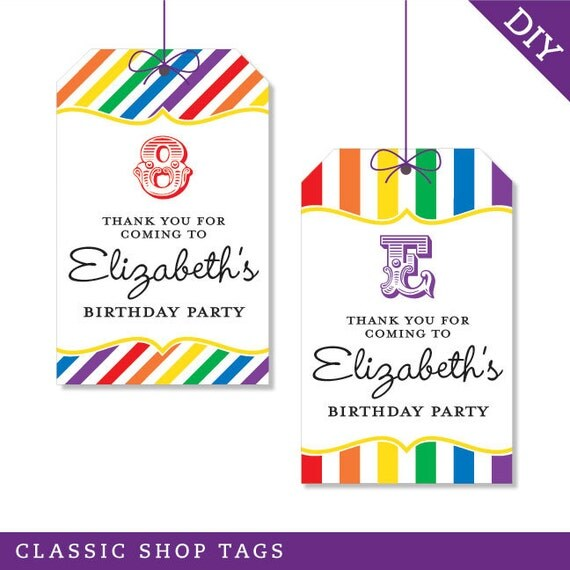 Rainbow Party - Personalized DIY printable favor tags