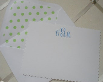 White Flat  with Spring Green Polka Dot  Lined Envelope Five for Five