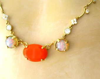 Fire Opal and coral necklace Vintage glass fire opals and coral glass stone CZ sparkles gold necklace matte gold plated artisan jewelry