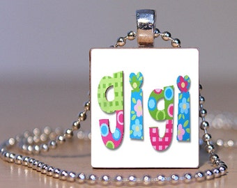 Green, Blue, and Pink Gigi Grandmother Scrabble Tile Pendant FREE CHAIN!