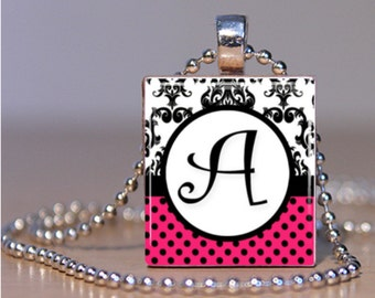 Hot Pink, Black and White Initial Scrabble Tile Pendant FREE CHAIN!