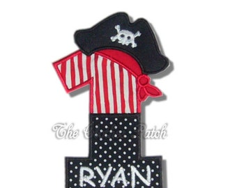 AARG!! Pirate Numbers Black and Red......... Embroidered Iron on patch, choose your number