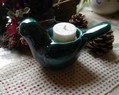 Deep Green Bird Tea Light Holder
