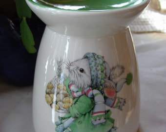Petticoat Bunny in Green with a Gift of Eggs Ceramic Tea Light Tart Burner