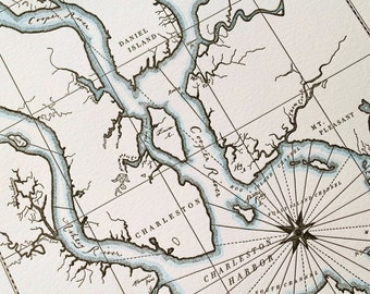 Charleston, South Carolina, Letterpress Printed Map