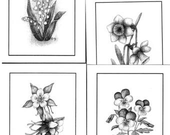 Set of 8 Notecards from original watercolor paintings - Flowers - Blank inside