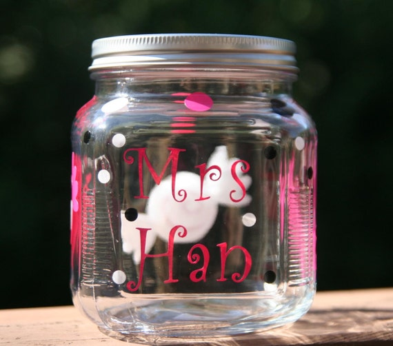 Personalized Teacher Gift Glass Candy Jar With Screw Top Lid