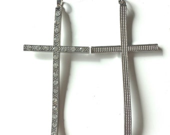 11 Rhinestone Cross Pendant Silver Curved Large for Jewelry Necklace making