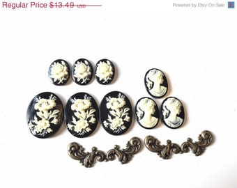 Cameo Cabochons Black Cream Lady Floral Rose Flowers Brass Jewelry Pieces Supplies Resin