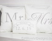 Mr and Mrs Pillow Covers with Mini Wedding Date Pillow Grey and White Hand Made in Canada