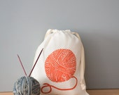 Knitting Project Bag, Yarn Bag, Organic Linen Drawstring Bag, Cloth Gift Bag  , Screen Printed Yarn Design
