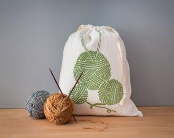 Knitting Project Bag, Organic Linen Drawstring Bag, Cloth Gift Bag , Bread Bag , Produce Bag , Screen Printed with Yarn Design
