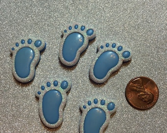 Baby boy adhesive glitter buttons