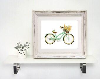 Bicycle Art Print - Mint Green Bike Bird Flower Basket