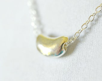 Floating Silver Kidney Bean Necklace / Metal Pendant Modern Jewelry, New Mother Necklace, Baby Shower Gift Ideas
