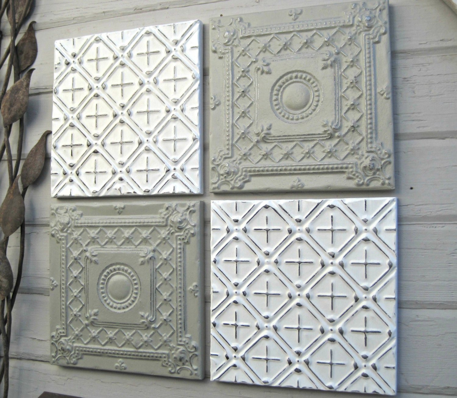Tin ceiling tile set of 4 12 x 12 framed tiles by for Individual ceiling tiles for sale