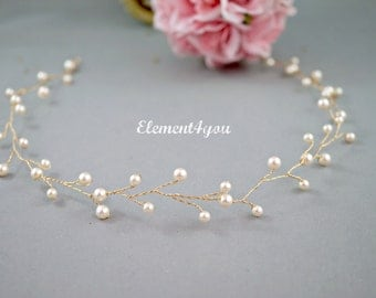 Bridal hair vines, Swarovski ivory cream white pearls, Gold pearl hair vines, pearl hair accessory, Wedding hair piece, Silver hair vines