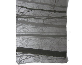 Fleece Blanket -  Foggy Forest Trees - Black Gray White - Decorative Nature Fleece Blanket - Baby Blanket - Medium Large Blanket