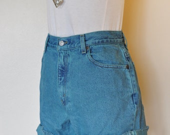 Teal Sz 8 Levi's 550 SHORTS - Hand Dyed Turquoise Teal Urban Style Denim High Rise Vintage Shorts - Adult Womens Size 8 (28 Waist)
