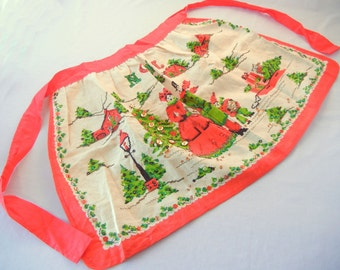 Christmas Hostess Apron, Linen with Sequins, Christmas Carolers, Noel, Tree, Sled, Midcentury Festive Red Green, 60s, Parisian Print