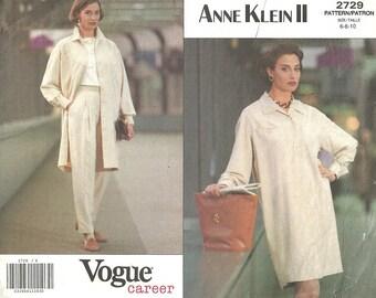Vogue 2729 / Vintage Designer Sewing Pattern / High Waist Pants Coat Dress / Size 6 8 10