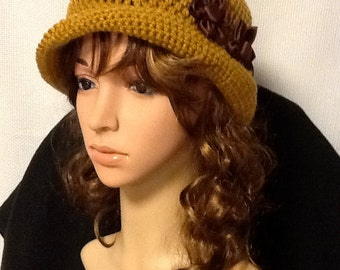 Harvest Gold Crocheted Cloche