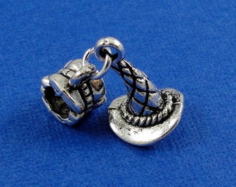 Tiny Witch Hat European Dangle Bead Charm - Silver Witch Hat Charm for European Bracelet