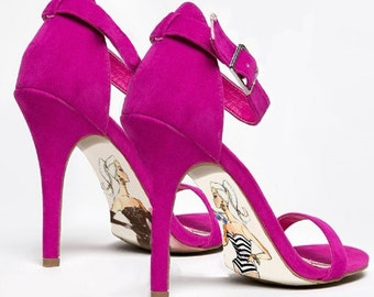 Custom hand painted Barbie high heel shoes