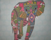 "Elephant Linen Pillow Panel 12"" LAST ONE"